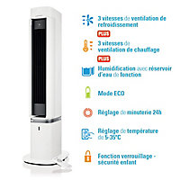 Colonne soufflante oscillante 3 en 1 (ventilateur chaud / froid, humidification) Optiméo 220W