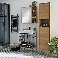 Console pour vasque à poser GoodHome Duala métal noir 60 cm + plan vasque blanc GoodHome Duala 60 cm