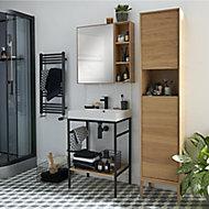 Console pour vasque à poser GoodHome Duala métal noir 60 cm + plan vasque blanc GoodHome Mila 60 cm