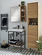 Console pour vasque à poser GoodHome Duala métal noir 80 cm + plan vasque blanc GoodHome Mila 80 cm