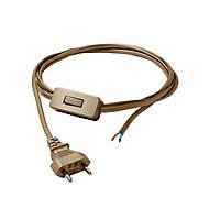 Cordon de lampe avec interrupteur or Diall 2m