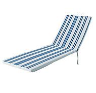 Coussin bain de soleil GoodHome Isla à rayures bleu 55 x 190 cm