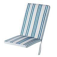 Coussin fauteuil haut GoodHome Isla à rayures bleu 40 x 94 cm