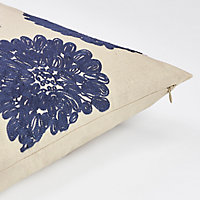 Coussin Jade blanc et bleu 50 x 50 cm
