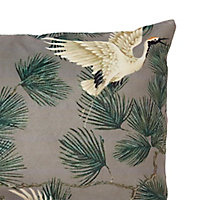 Coussin oiseaux asiatiques 50 x 30 cm GoodHome gris foncé