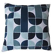 Coussin Ploidic 45x45 cm Avec broderies géométriques Bleu et blanc