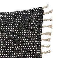 Coussin à rayures tissées Blooma Denia noir et blanc 30 x 50 cm