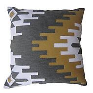 Coussin Suming 45x45 cm Avec broderies géométriques Jaune moutarde