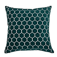Coussin Teleite 45x45 cm Hexagonal Sarcelle