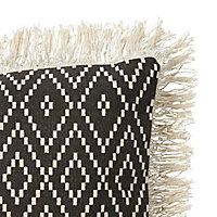 Coussin tissé Blooma Denia noir et blanc 45 x 45 cm