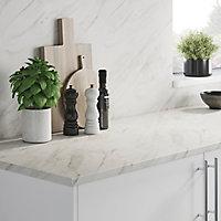 Crédence de cuisine aspect marbre blanc GoodHome Algiata l. 300 cm x H. 60 cm x Ep. 8 mm