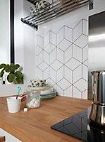 Crédence de cuisine GoodHome Nepeta géométrique blanc l. 180 cm x H. 60 cm x Ep. 3 mm