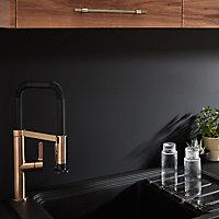 Crédence de cuisine noir mat et blanc mat GoodHome Berberis l. 200 cm x H. 60 cm x Ep. 3 mm