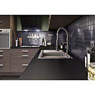 Crédence stratifiée coloris noir mat antitrace 300 x 64 cm
