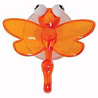 Crochet en plastique orange à ventouse Libellule