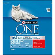 Croquettes pour chat stérilisé One boeuf 1,5kg