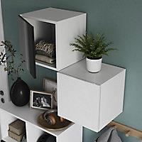 Cube de rangement avec porte blanche GoodHome Atomia H. 37,5 x L. 37,5 x P. 37 cm