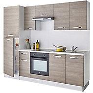 Cuisine complète All In décor bois L.250 cm avec électroménager