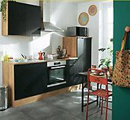 Cuisine complète Oggi noir et décor bois L.240 cm sans électroménager