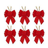 Décoration Nœud velours rouge (6 pièces)