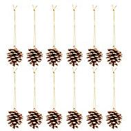 Décoration pomme de pin nature doré (12 pièces)