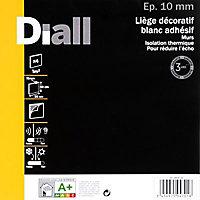 Dalle de liège adhésive DIALL blanche - 50 x 50 cm ép.10 mm (vendu par lot de 4 dalles)