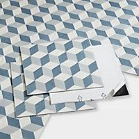 Dalle PVC adhésive carreaux de ciment bleus Poprock 30 x 30 cm (vendue au carton)