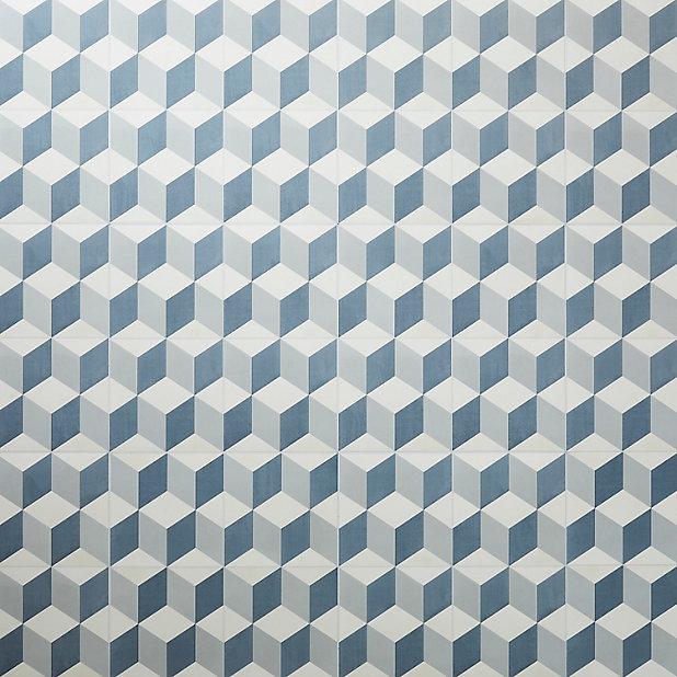 Dalle Pvc Adhesive Carreaux De Ciment Bleus Poprock 30 X 30 Cm Vendue Au Carton Castorama
