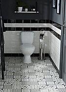 Dalle PVC adhésive carreaux de ciment noirs et blancs Poprock 30 x 30 cm (vendue au carton)