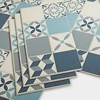 Dalle PVC clipsable carreaux de ciment bleus Jazy 30 x 60 cm (vendue au carton)