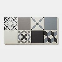 Dalle PVC clipsable carreaux de ciment gris Jazy 30 x 60 cm (vendue au carton)