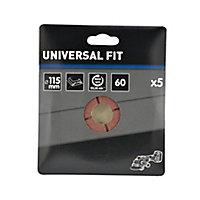 Disque abrasif Universal support meuleuse, ø115 mm - 5 pièces, Grain 60