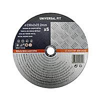 Disque de coupe métal 230x2x22,2mm Universel fit, 5pièces