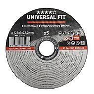 Disque de coupe métal/inox Universel 125x1x22,2mm - 5pièces