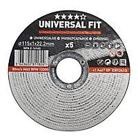 Disque de coupe métal Universel 115x1x22,2mm - 5pièces