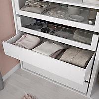Dressing blanc 2 tablettes 5 tiroirs GoodHome Atomia H. 187,5 x L. 150 x P. 58 cm
