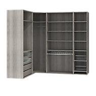 Dressing d'angle avec tiroirs et portes chaussures effet chêne grisé GoodHome Atomia H. 225 x P. 58 cm