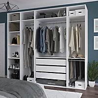 Dressing ouvert avec tiroirs et portes chaussures blanc GoodHome Atomia H. 225 x L. 250 x P. 58 cm