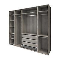 Dressing ouvert avec tiroirs et portes chaussures effet chêne grisé GoodHome Atomia H. 225 x L. 250 x P. 58 cm