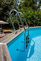 Echelle en inox 3 marches pour piscine bois