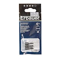 Embout de vissage torsion impact SQ1/2/3 25mm Erbauer - 3 pièces