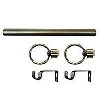 Ensemble barre à rideaux extensible Twist or Ø19mm 21/12cm