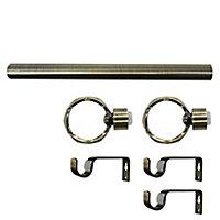 Ensemble barre à rideaux extensible Twist or Ø19mm 33/20cm