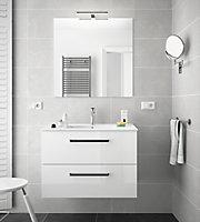 Ensemble de salle de bains 80 cm meuble Comfort sous vasque + plan vasque + miroir + spot
