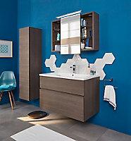 Ensemble de salle de bains Calao 90 cm fumé plan résine