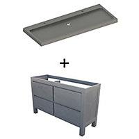Ensemble de salle de bains Harmon 140 cm meuble sous-vasque noir + plan vasque résine