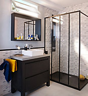 Ensemble de salle de bains Harmon 90 cm meuble sous-vasque noir + plan béton