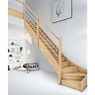 Escalier 1/4 tournant droit bois Oléa 15 marches chêne
