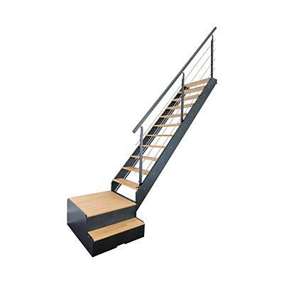 Escalier 1 4 Tournant Droit Gauche Avec Rangement Metal Bois Spark Led 13 Marches Chene Castorama