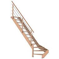 Escalier 1/4 tournant gauche bois Novah 13 marches hêtre